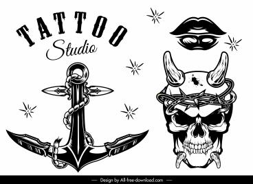 tattoo templates black white artistic retro shapes
