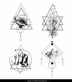 tattoo templates handdrawn flora fist picture sketch