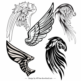 tattoo wings icons black white classic handdrawn