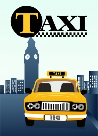 taxi advertising text yellow car icon colored cartoon