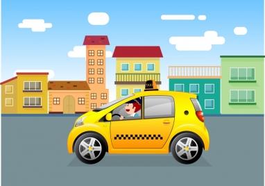 taxi advertising yellow car town colored cartoon design