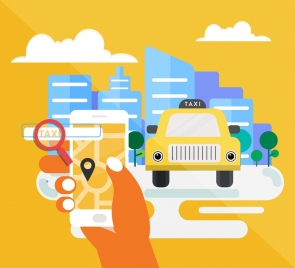 taxi application banner car smartphone icons