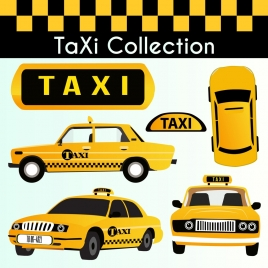 taxi car icons collection yellow decor various views