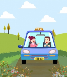 taxi service background colored cartoon design