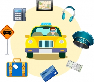 taxi service design elements colored objects circle layout