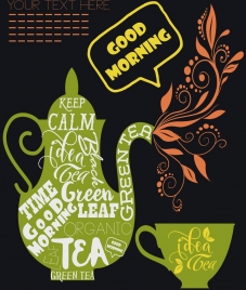 tea advertisement green flat design calligraphic flowers decor