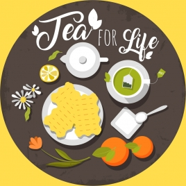 tea advertising fruit cup pot icons circle layout
