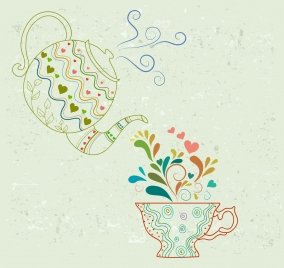 tea art drawing pot cup icons outline
