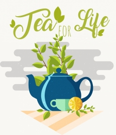 tea break banner pot cup leaf icon decor