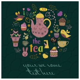 tea break concept design with colorful circle decoration