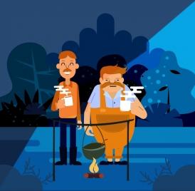 tea break drawing men campfire icon colored cartoon