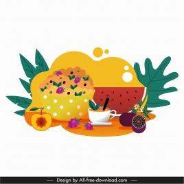 tea break icon colorful flat classic fruits decor
