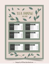 tea menu template classical leaves decor