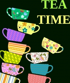 tea time banner colorful cup icons flat design