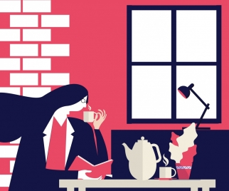 tea time drawing relaxing woman icon cartoon design