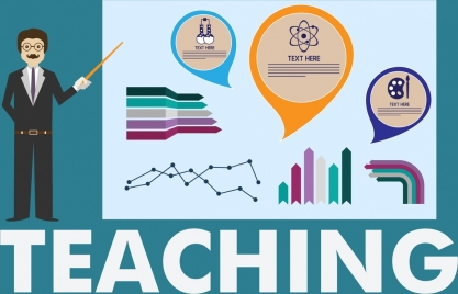 teaching background teacher chart icons decor