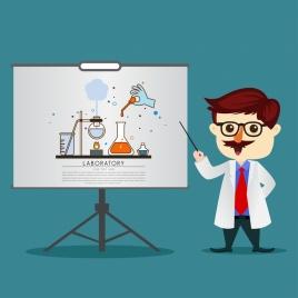 teaching theme chemistry subject teacher icon cartoon design