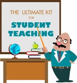 teaching tools advertisement teacher board icons colored cartoon