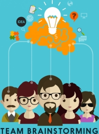 team brainstorming background colored human lightbulb icons
