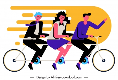 team work background employees riding bicycle sketch