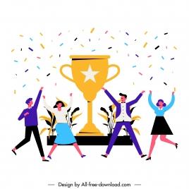 team work background joyful staffs trophy icons sketch