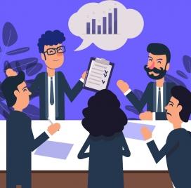 team work background staffs checklist speech bubble icons
