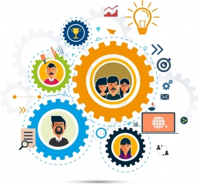team work concept background gears employee icons decor
