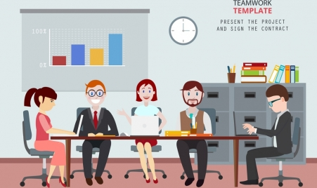 team work drawing staffs office workplace colored cartoon