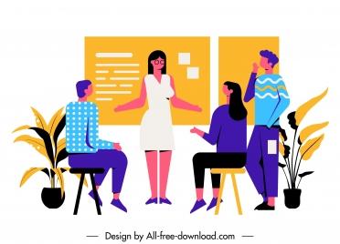 team work painting meeting staffs sketch cartoon characters