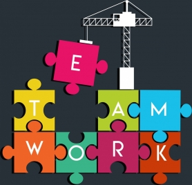 teamwork background crane colorful jigsaw puzzles erection