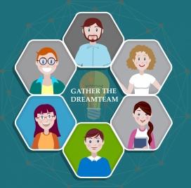 teamwork background human avatar lightbulb icons polygonal layout