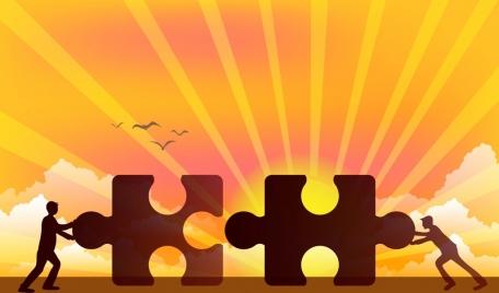 teamwork background puzzle human silhouette sun ray decor