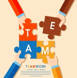 teamwork banner hands jigsaw puzzles icons