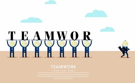 teamwork banner human icon texts decor