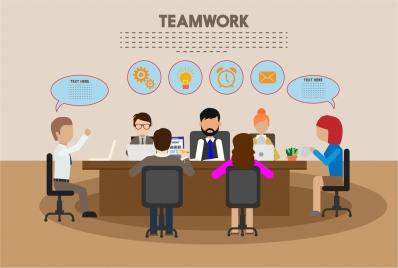 teamwork concept design meeting and speech baubles context
