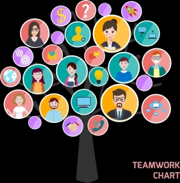 teamwork design elements staff avatars circle isolation