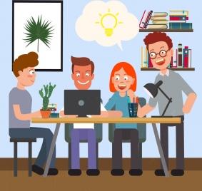 teamwork drawing staffs lightbulb icons colored cartoon design
