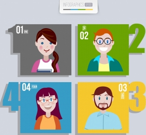 teamwork infographic human avatars multicolored squares isolation