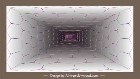 technology background 3d depth tunnel geometric polygon wall