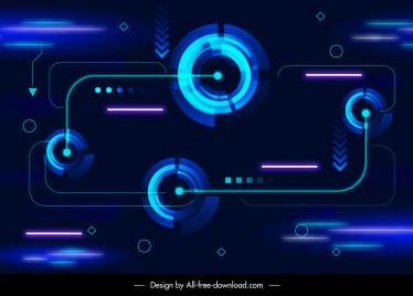 technology background dark sparkling light shapes modern design