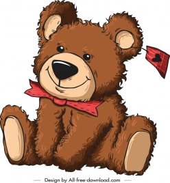 teddy bear gift icon cute cartoon sketch