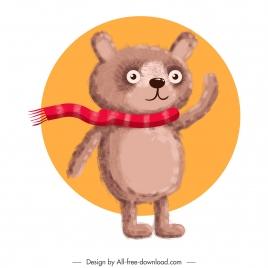 teddy bear icon colored classic handdrawn sketch