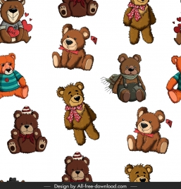 teddy bears pattern cute colored repeating decor