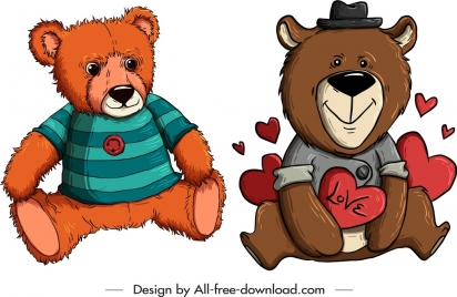 teddy bears templates cute stylized cartoon sketch