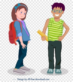 teenager icons modern lifestyle design cartoon characters sketch