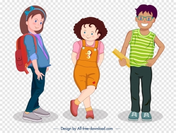 teenagers icons colored cartoon characters modern design