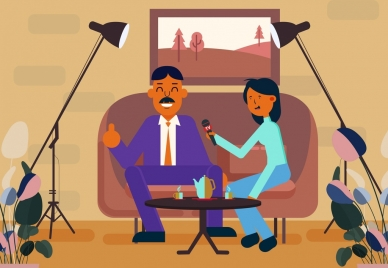 television interview background interviewee reporter icons cartoon design
