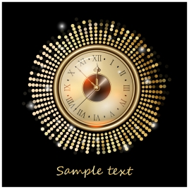 template design with shiny golden antique clock