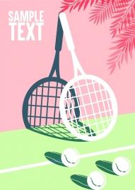 tennis background racquet ball shadow icons 3d design