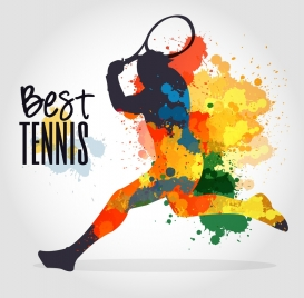 tennis banner colorful grunge decoration player silhouette